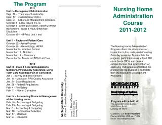 Nursing Home Administration Course 2011-2012
