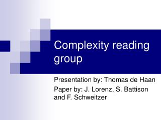 Complexity reading group