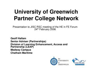 University of Greenwich Partner College Network