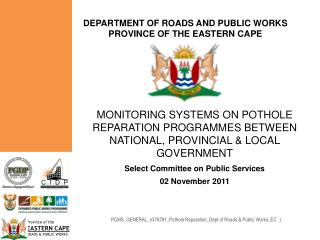 DEPARTMENT OF ROADS AND PUBLIC WORKS PROVINCE OF THE EASTERN CAPE