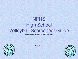 NFHS High School Volleyball Scoresheet Guide