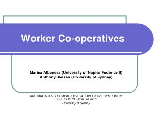 Worker Co-operatives