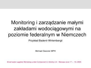 Monitoring  i zarządzanie małymi zakładami wodociągowymi na poziomie federalnym w Niemczech