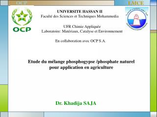 UNIVERSITE HASSAN II  Facult� des Sciences et Techniques Mohammedia