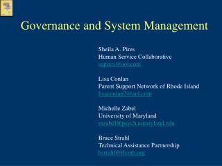 Governance and System Management