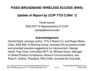 FIXED BROADBAND WIRELESS ACCESS (BWA) Update of Report by CCIP TTG-3 [Ref. 1]