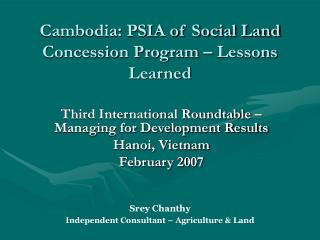 Cambodia: PSIA of Social Land Concession Program – Lessons Learned