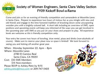 Society of Women Engineers, Santa Clara Valley Section FY09 Kickoff Bowl-a-Rama