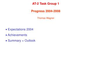   Expectations 2004   Achievements    Summary + Outlook