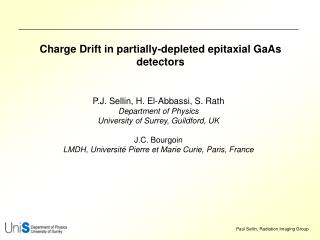 Charge Drift in partially-depleted epitaxial GaAs detectors