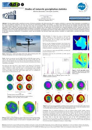 Studies of Antarctic precipitation statistics Martina Barandun, Christophe Genthon,