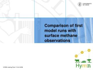 Comparison of first model runs with surface methane observations