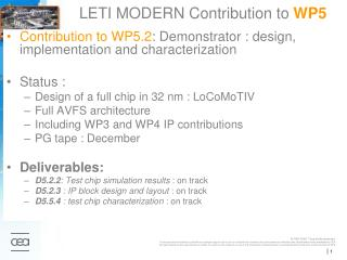 LETI MODERN Contribution to  WP5