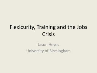 Flexicurity, Training and the Jobs Crisis