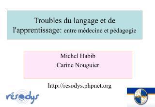 Troubles du langage et de l'apprentissage:  entre médecine et pédagogie