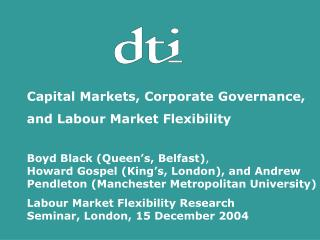 Capital Markets, Corporate Governance,  and Labour Market Flexibility