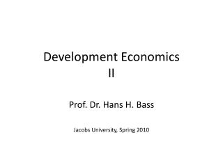 Development Economics II