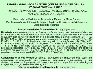 Fatores associados às alterações de linguagem oral