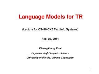 Language Models for TR