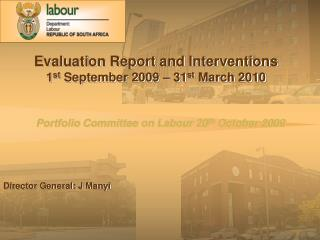 Portfolio Committee on Labour 20 th  October 2009