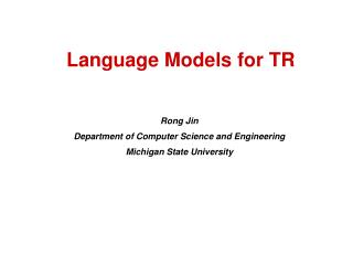 Language Models for TR