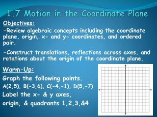1.7 Motion in the Coordinate Plane