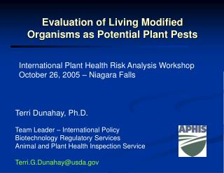 Evaluation of Living Modified Organisms as Potential Plant Pests