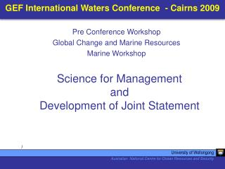 GEF International Waters Conference  - Cairns 2009