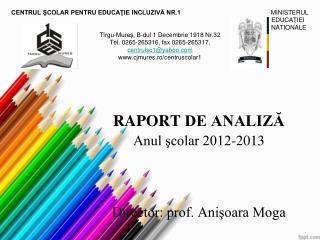 RAPORT  DE ANALIZĂ Anul şcolar 2012-2013 Director: prof. Anişoara Moga