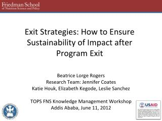 Exit Strategies: How to Ensure Sustainability of Impact after Program Exit