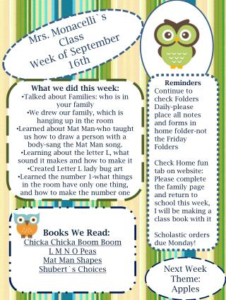 Mrs.  Monacelli`s  Class Week of September  16th