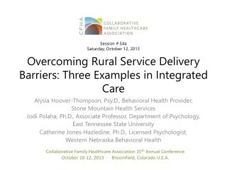 Overcoming Rural Service Delivery Barriers: Three Examples in Integrated Care