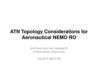 ATN Topology Considerations for Aeronautical NEMO RO