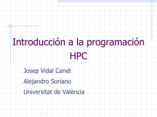 Introducción a la programación HPC