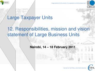 Large Taxpayer Units 12. Responsibilities, mission and vision statement of Large Business Units