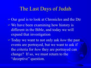 The Last Days of Judah