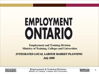 INTEGRATED LOCAL LABOUR MARKET PLANNING  July 2008
