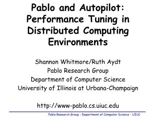 Pablo and Autopilot: Performance Tuning in Distributed Computing Environments