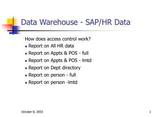 Data Warehouse - SAP/HR Data