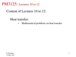 PM3125:  Lectures 10 to 12