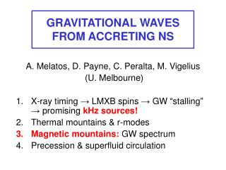 GRAVITATIONAL WAVES FROM ACCRETING NS