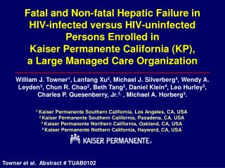 Fatal and Non-fatal Hepatic Failure in HIV-infected versus HIV-uninfected Persons Enrolled in  Kaiser Permanente Califor