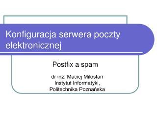 Konfiguracja serwera poczty elektronicznej