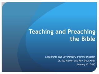Teaching and Preaching the Bible