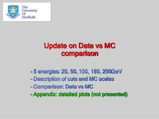 Update on Data vs MC comparison