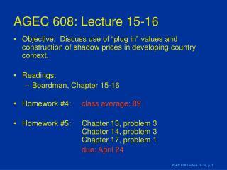AGEC 608: Lecture 15-16