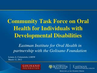 Community Task Force on Oral Health for Individuals with Developmental Disabilities