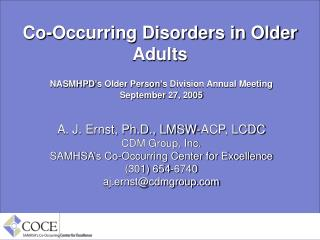 Co-Occurring Disorders in Older Adults