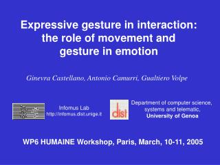 Expressive gesture in interaction:  the role of movement and  gesture in emotion