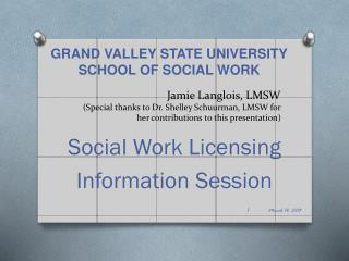 Social Work Licensing Information Session